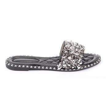 Crushed Crystals Flat Slip On Sandals Moyee