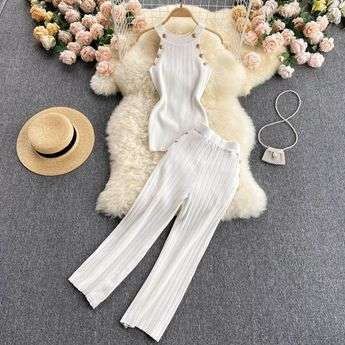 WHITE TWO PIECE SET LOUNGEWEAR KNITTED LE BLOSSOM