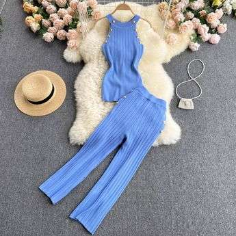 BLUE TWO PIECE SET LOUNGEWEAR KNITTED LE BLOSSOM