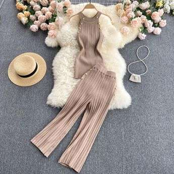 BEIGE TWO PIECE SET LOUNGEWEAR KNITTED LE BLOSSOM