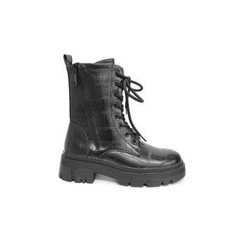 High Top Lace Up Military Boots with Zip Moyee