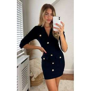 Structured Bodycon Dress with Button Detail Top Attraction