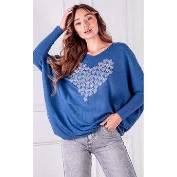 Heart Diamante Knitted Jumper Top Attraction