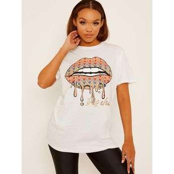 Chevron Lip Graphic Printed T-Shirt Stylewise Direct