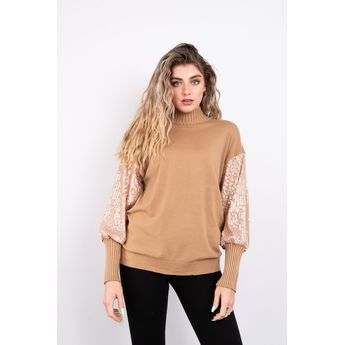 High Neck Soft Knit Jumper with Sequin Sleeves Lucy Sparks