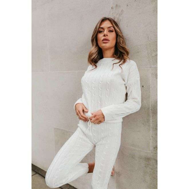 Cream Cable Knit Long Sleeve Cropped Top And Legging Lounge Set J5 Fashion