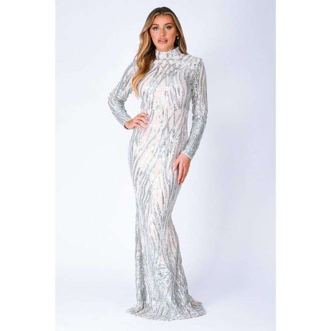 Trinity Luxe Silver Sequin Tree Effect Illusion Maxi Dress Nazz Collection