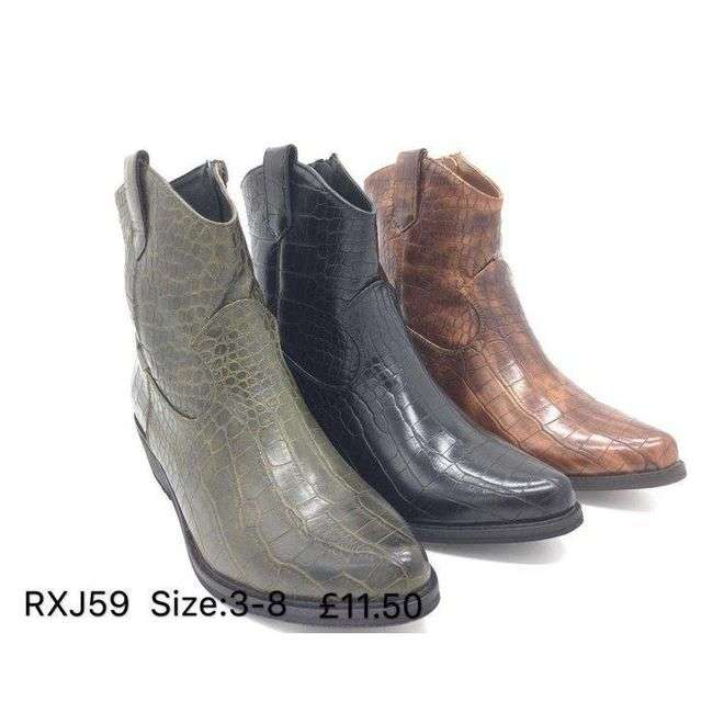 Croc Print Ankle Boots Happy Feet